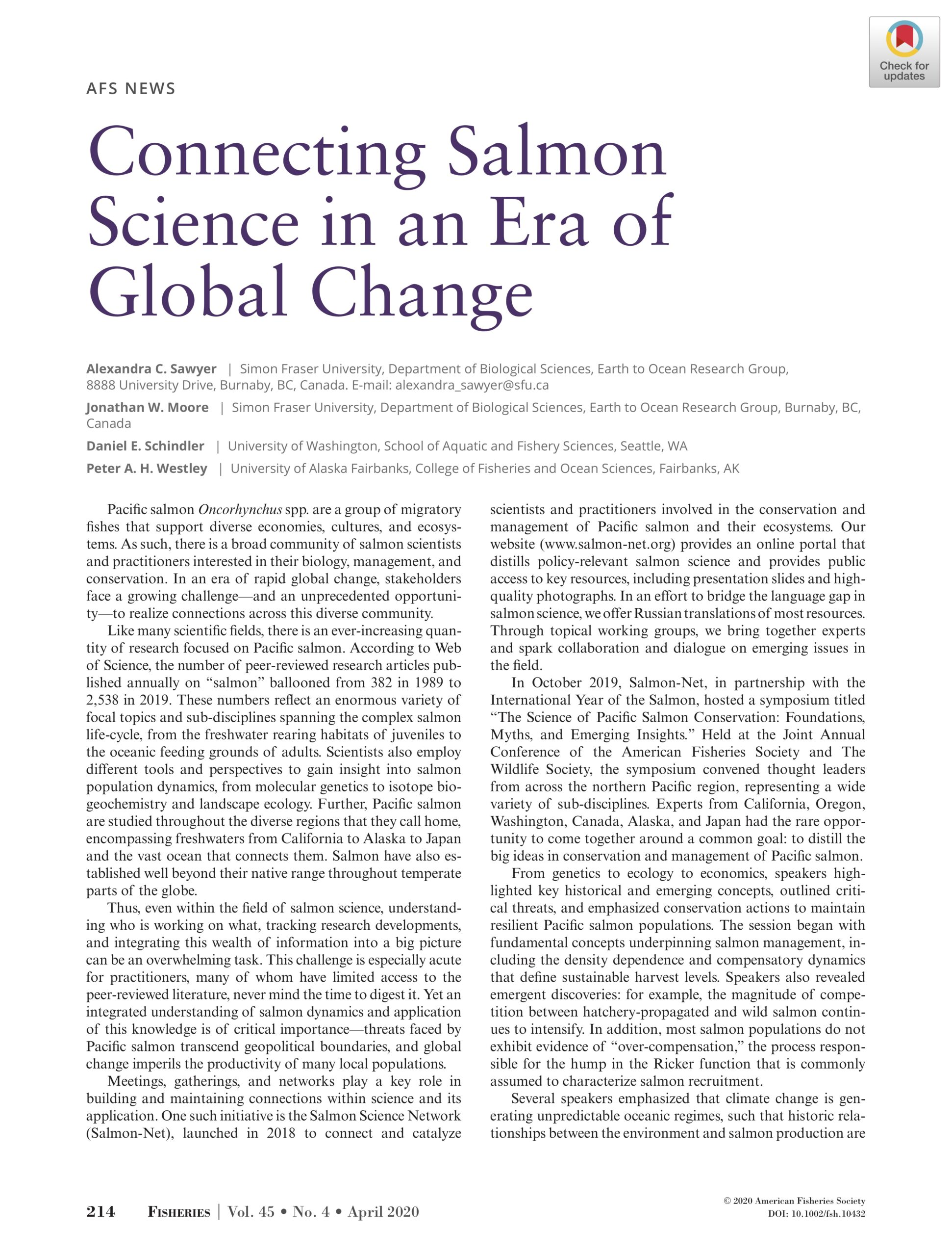 Sawyer et al. 2020: Connecting salmon science in an era of global change