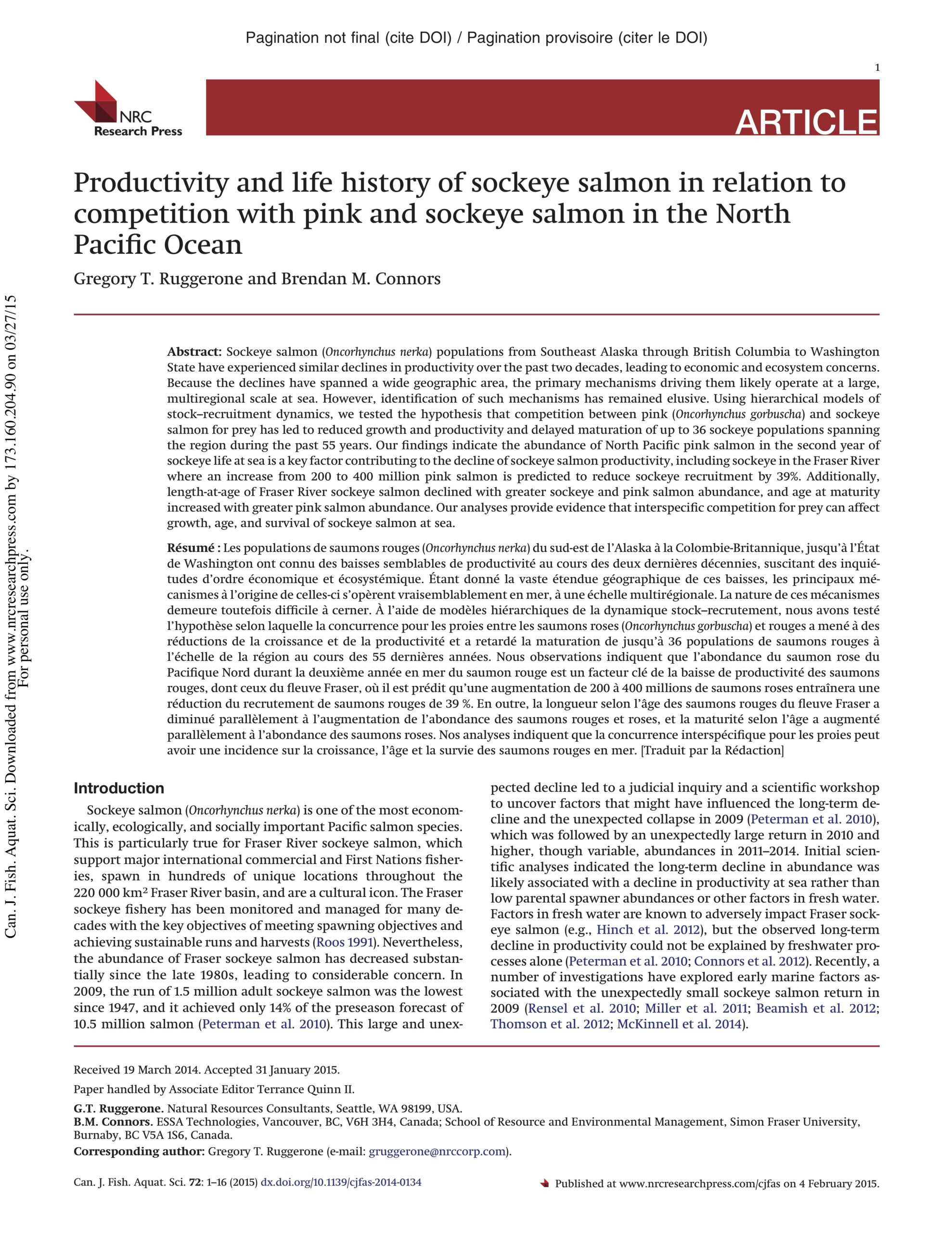 Ruggerone & Connors 2015: Productivity and life history of sockeye salmon in relation to competition with pink and sockeye salmon in the North Pacific Ocean