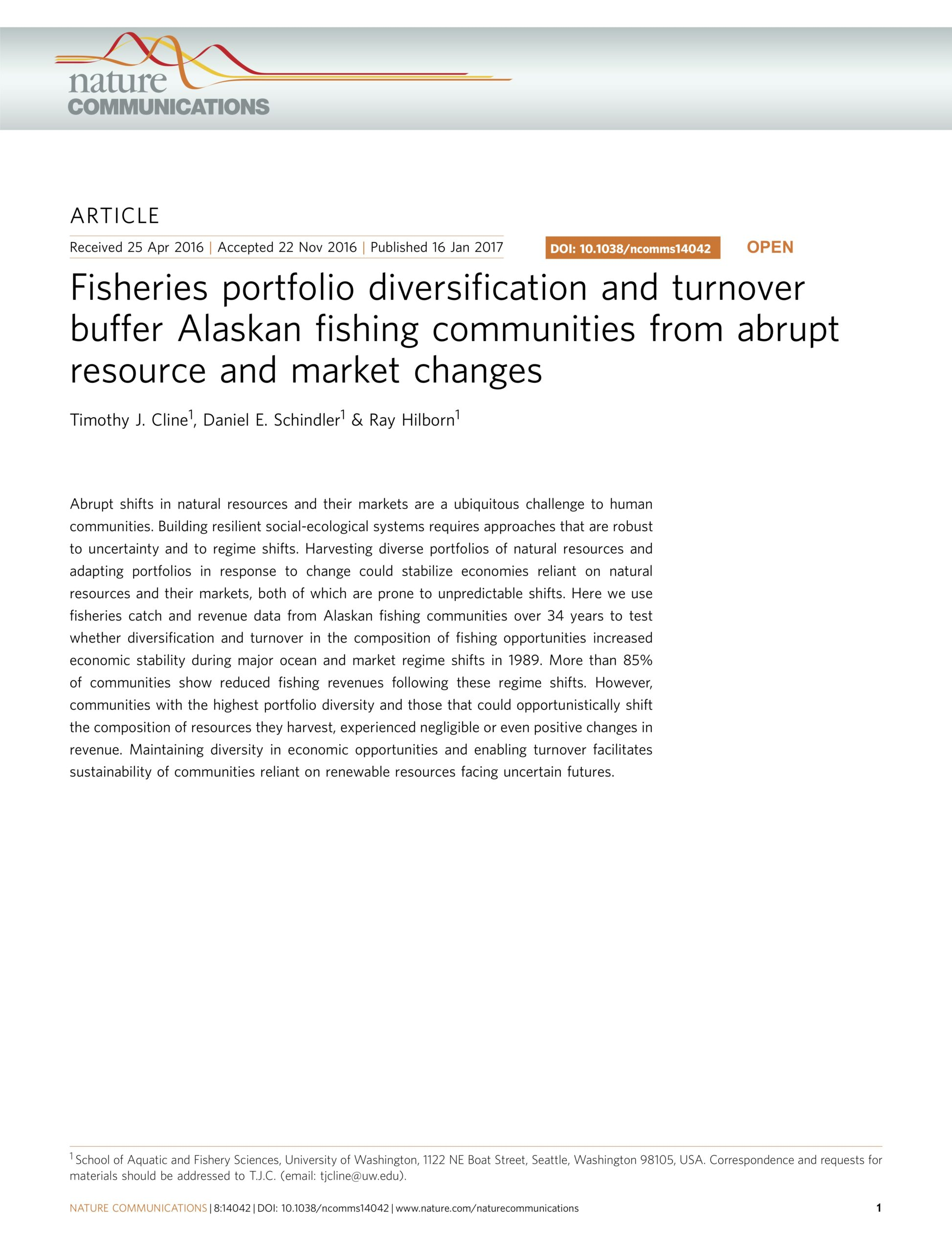Cline et al. 2017:  Fisheries portfolio diversification and turnover buffer Alaskan fishing communities from abrupt resource and market changes
