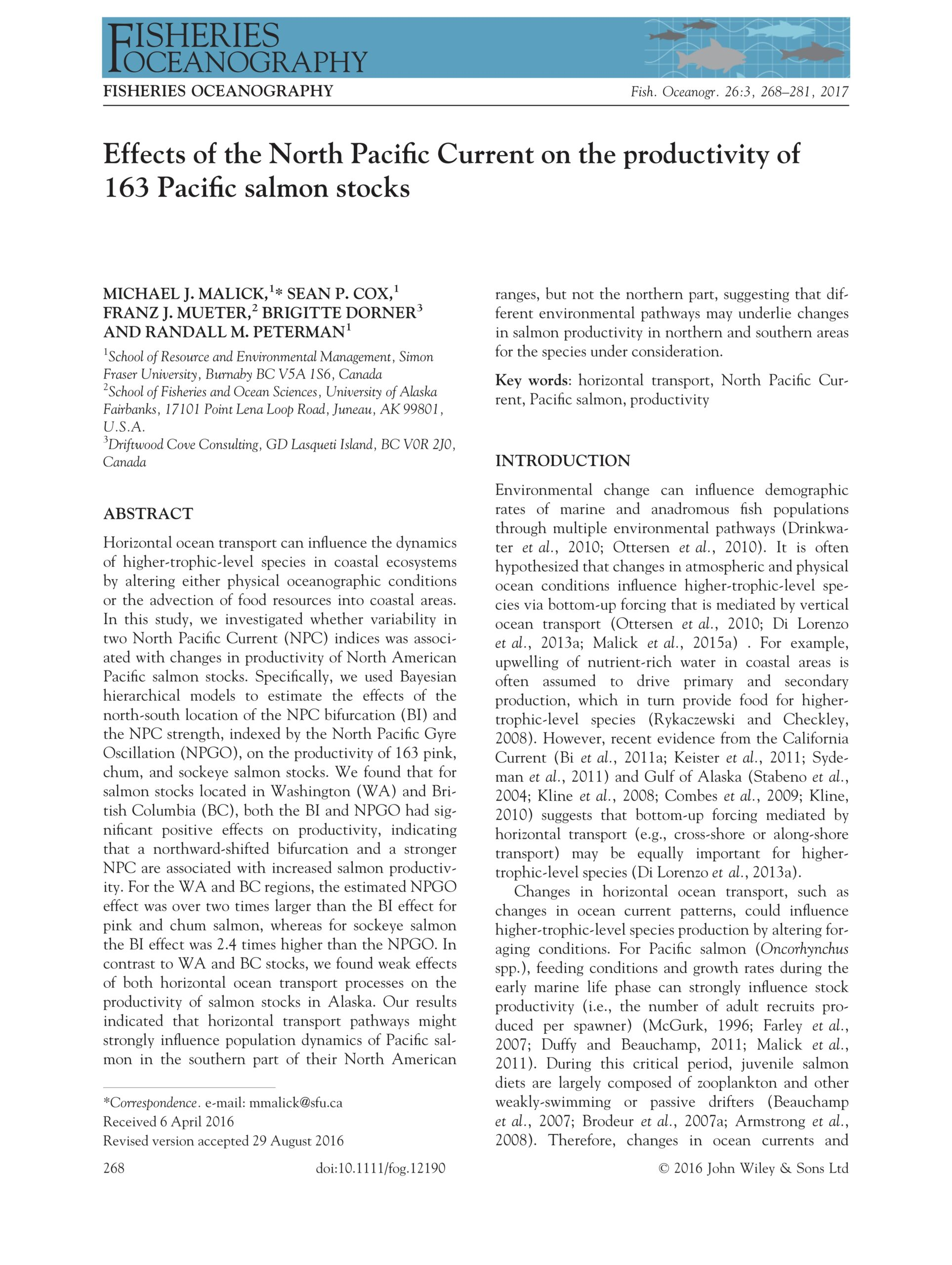 Malick et al. 2016: Effects of the North Pacific Current on the productivity of 163 Pacific salmon stocks