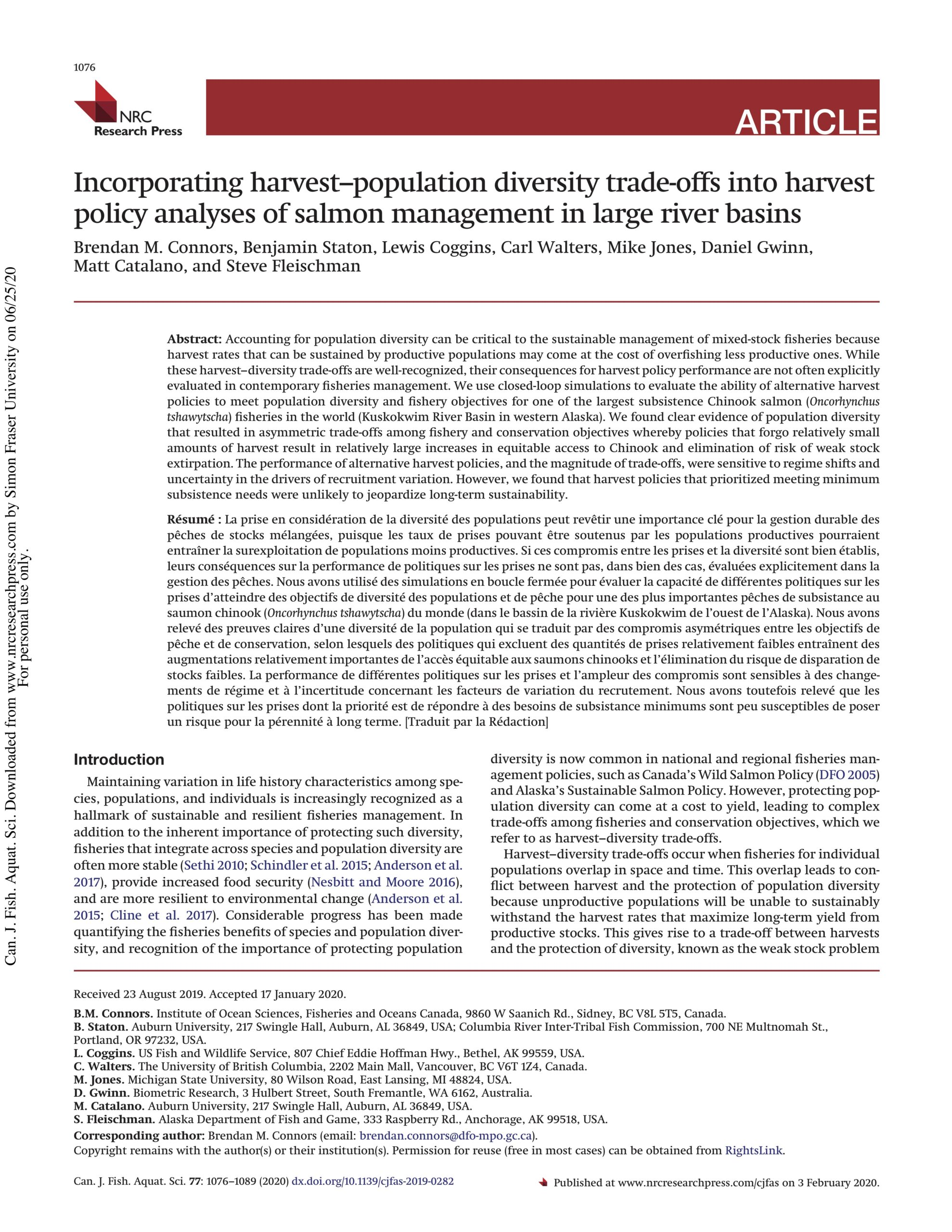 Connors et al. 2020: Incorporating harvest-population diversity trade-offs into harvest policy analyses of salmon management in large river basins