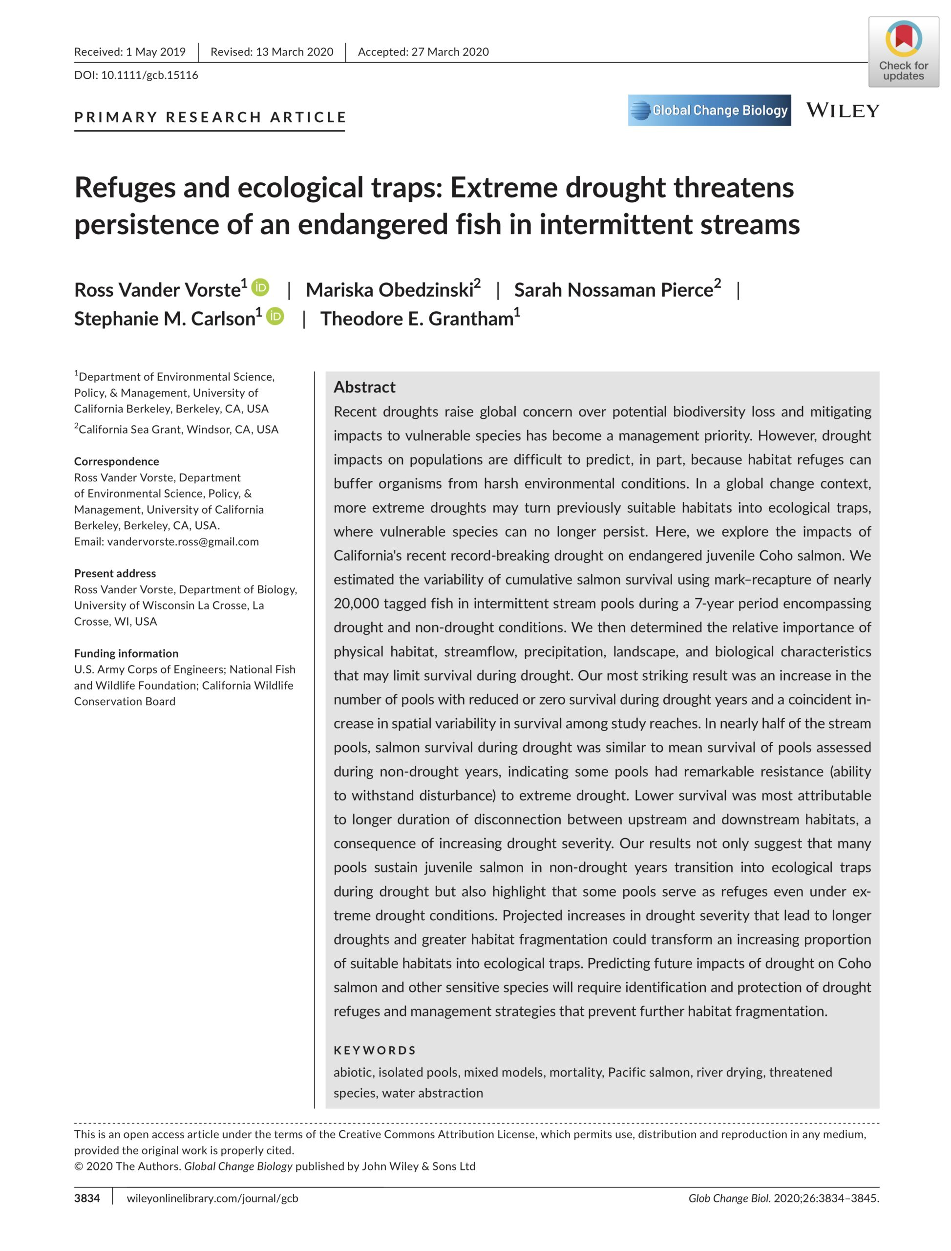 Vander Vorste et al. 2020: Refuges and ecological traps: extreme drought threatens persistence of an endangered fish in intermittent streams