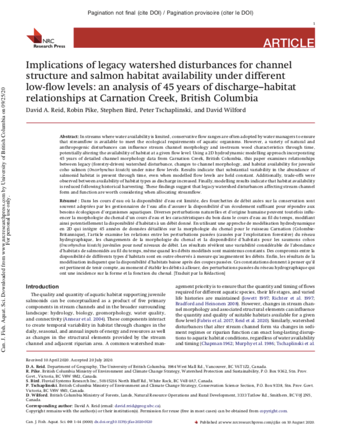 Reid et al. 2020: Implications of legacy watershed disturbances for channel structure and salmon habitat availability under different low-flow levels